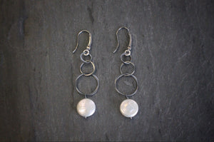 sea and stone jewelry Blackened Silver Pearl Drop Earrings