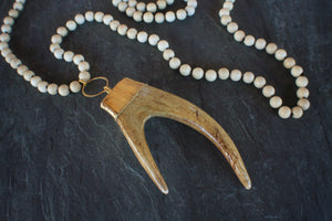 sea and stone jewelry Riverstone & Forked Antler Necklace