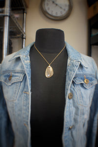 Flintstone Chain Necklace With Pearl