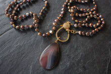 sea and stone jewelry Pave Pearl Wrap Necklace With Botswana Agate