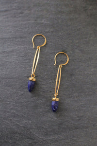 sea and stone jewelry Lapis Lazuli Bullet Earrings