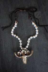sea and stone jewelry Longhorn Pearl & Suede Necklace