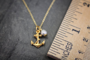 Sea and Stone Jewelry - Delicate and Dainty Vermeil Cable Chain with Anchor Charm and Pearl Embellishment with Ruler for Size Example