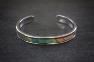 sea and stone tropical print leather inlay cuff bracelet thin silver