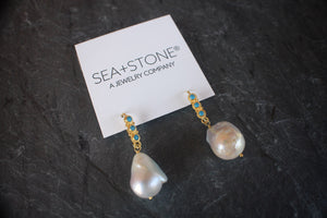 18k Gold Baroque Pearl & Turquoise Earrings