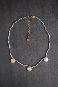 sea and stone jewelry Coin Pearl & Apatite Station Necklace