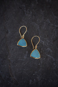 sea and stone jewelry Faceted Chalcedony Drops