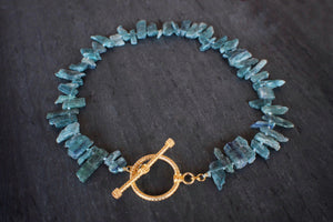 sea and stone jewelry Raw Kyanite Toggle Necklace