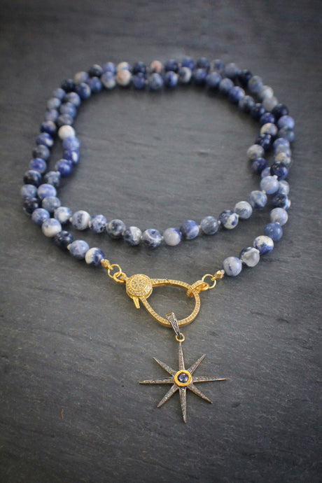 sea and stone sodalite necklace with diamonds and sapphire star
