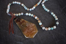 sea and stone jewelry Amazonite & Geometric Horn Necklace