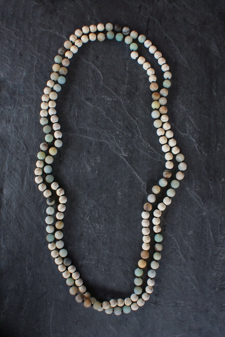 sea and stone jewelry X-Long Riverstone & Amazonite Wrap Necklace