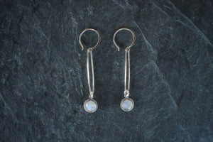 sea and stone jewelry Elongated Sterling Silver Link Earrings with Moonstone