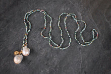 sea and stone jewelry Moss Agate & Baroque Pearl Lariat