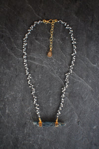 Raw Kyanite & Pearl Fringe Necklace