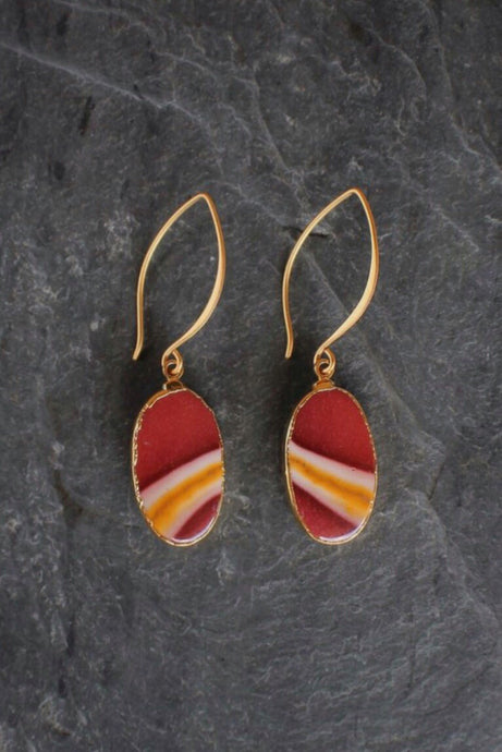 Garnet + Gold Mookaite Earrings