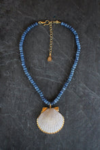 sea and stone jewelry Kyanite & Scallop Shell Adjustable Necklace