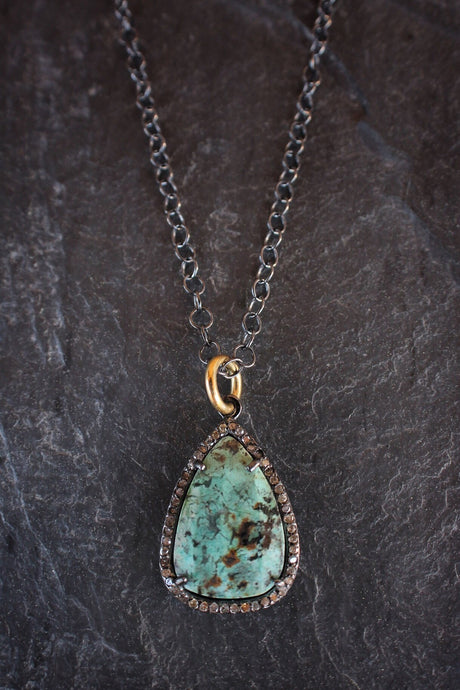 sea and stone jewelry Freeform Turquoise & Diamond Necklace
