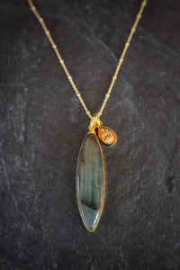 sea and stone jewelry One-of-a-kind Marquise Labradorite Necklace