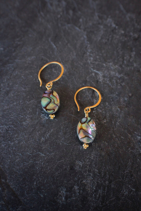 sea and stone jewelry Dainty Abalone Drops