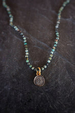 sea and stone jewelry Tiny Turquoise & Diamond Disk Necklace