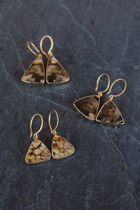 sea and stone jewelry One-of-a-kind Nut Wood Earrings