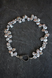 Pave Petal Pearl Necklace With Lobster Clasp