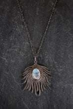 Blackened Silver, Moonstone, & Diamond Feather Necklace