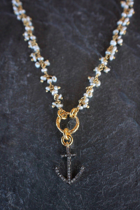 sea and stone jewelry Pearl Fringe Necklace with Diamond Anchor