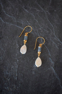 sea and stone jewelry Moonstone Barrel & Coin Pearl Earrings