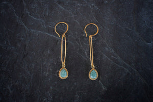 sea and stone jewelry Amazonite Bezel Link Earrings