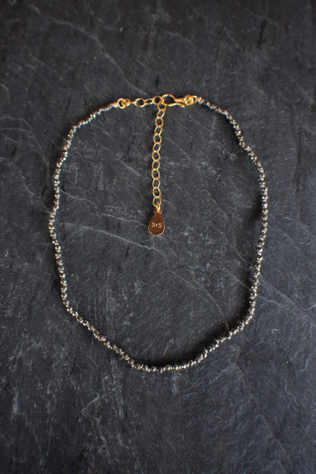 Dainty Pyrite Adjustable Necklace