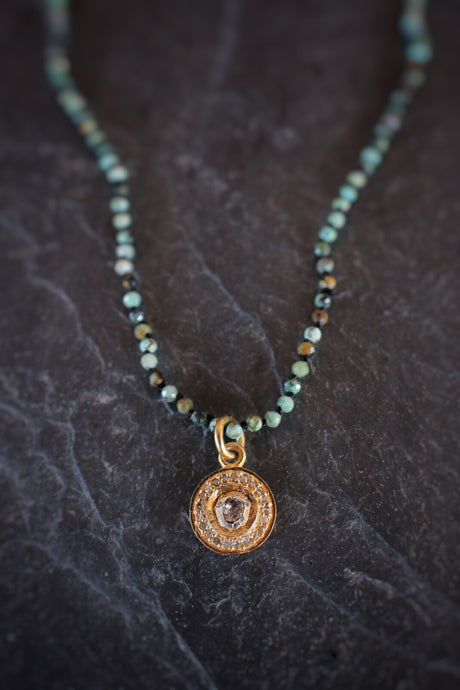 sea and stone jewelry Tiny Turquoise With Diamond Mandala Necklace