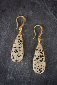 Diamond & Dalmatian Jasper Earrings