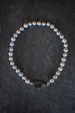 sea and stone jewelry Pave Diamond & Pewter Pearl Necklace