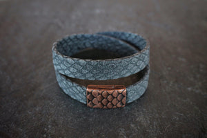 sea and stone jewelry Blue Faux-Snakeskin Wrap Bracelet