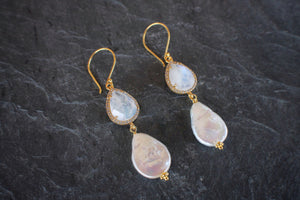sea and stone jewelry Pave Moonstone & Coin Pearl Statement Earrings
