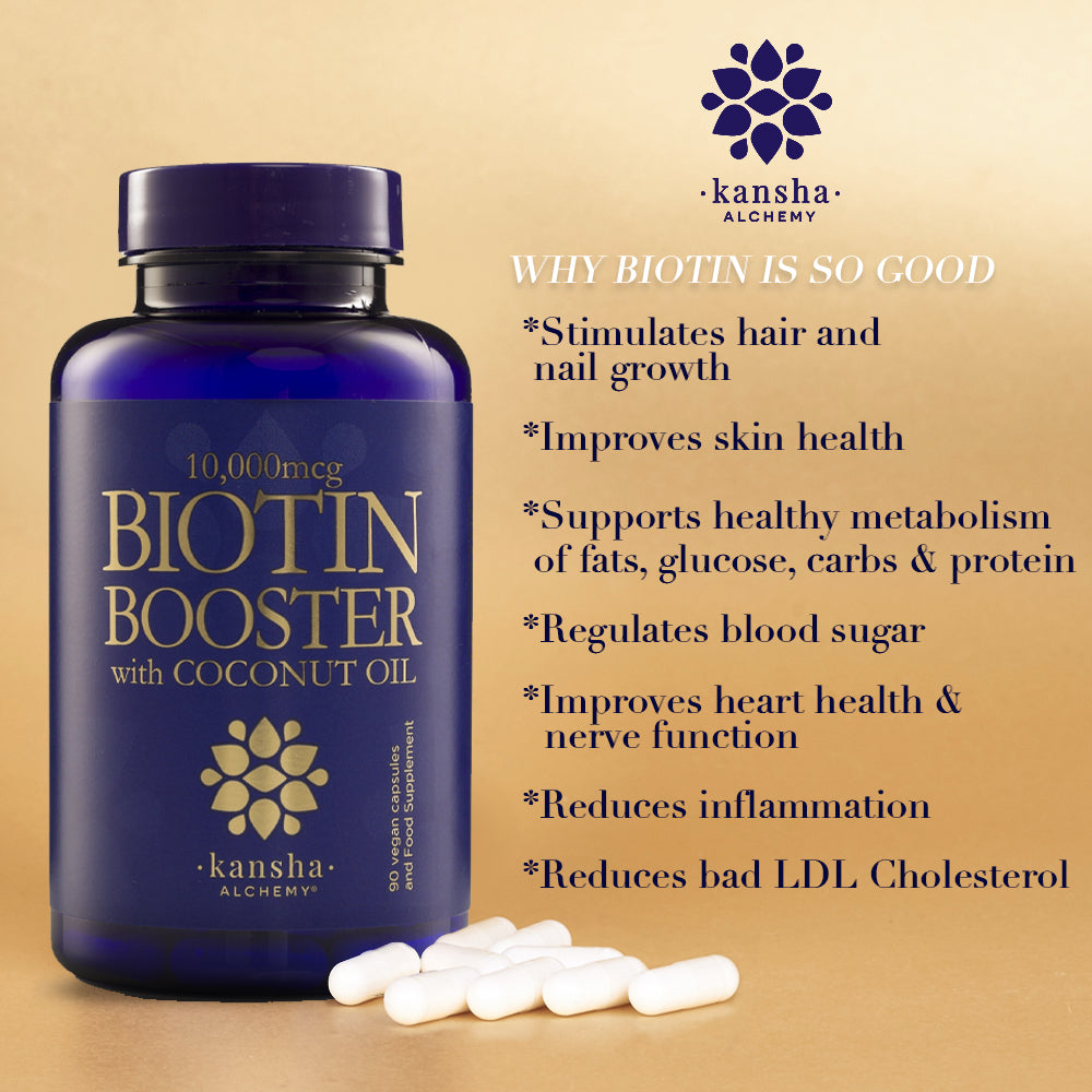 Biotin Booster 10,000mcg with Coconut Oil - 90 caps, 3 months supply