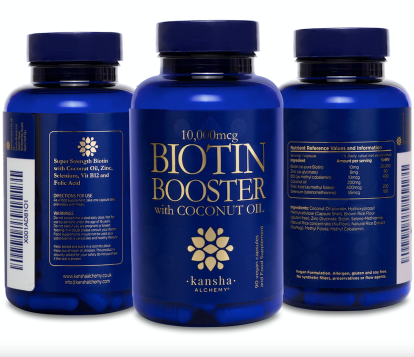 3-pack Biotin Booster 10,000mcg with Coconut Oil - 270 caps, 9 months supply