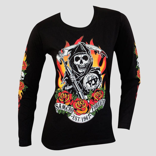 Sons of Anarchy Fire Roses Long Sleeve T-Shirt