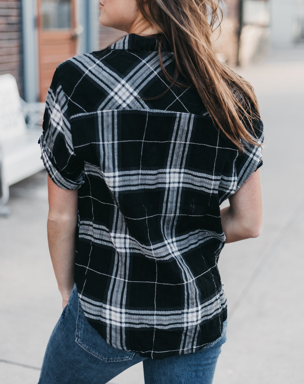 LOVE STITCH - Plaid Short Sleeve Shirt