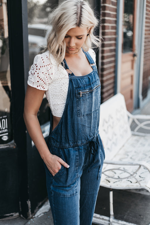 LOVESTITCH - Drawstring Waist Relaxed Tencel Overall