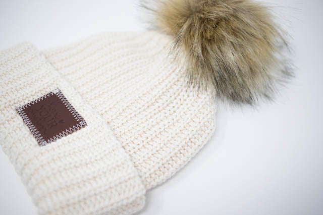 c92eadb22ec LOVE YOUR MELON - White Speckled Cuffed Pom Beanie (Nautral Pom) — Fifth  and Hudson
