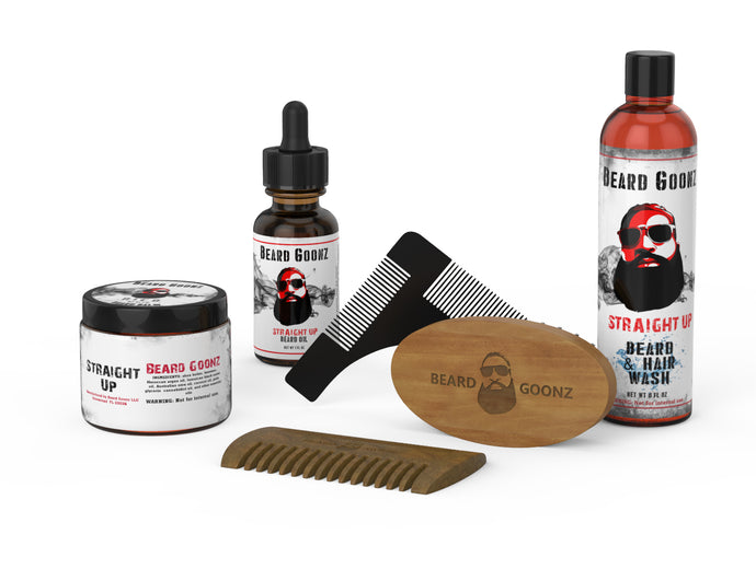 Goon Gentleman Signature Grooming Kit | Beard Wash, Oil, Balm & Grooming Tools | Infused - Beard Goonz