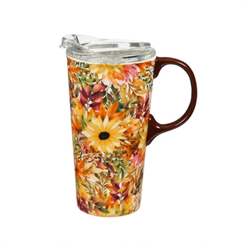 Ceramic Travel Cup, 17oz, Autumn Blessing Pattern