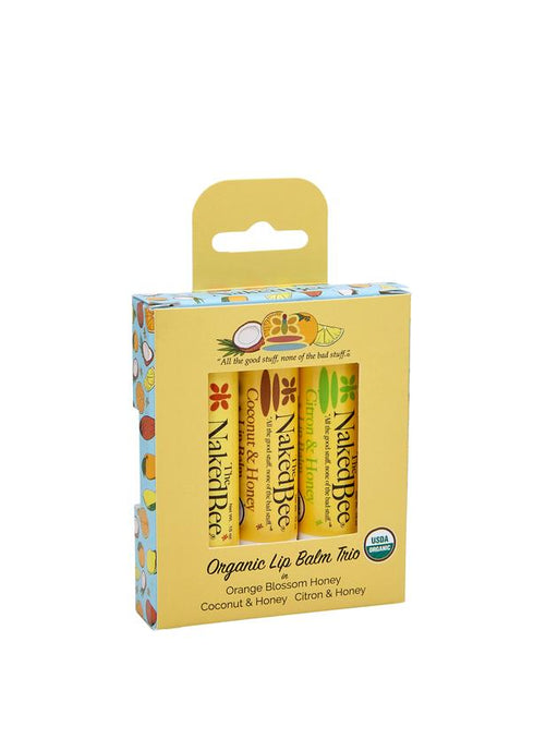 The Naked Bee, 3 Pack Lip Balm Gift Set, Organic Lip Balm Trio