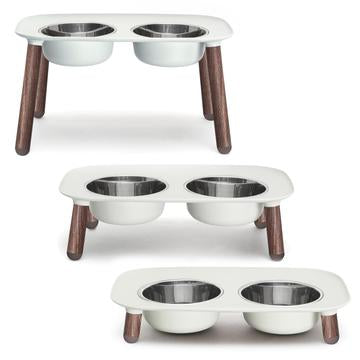 "Messy Mutts Elevated Double Feeder With Stainless Bowls, Special Edition ""Faux"" Wooden Legs, Adjustable Height"