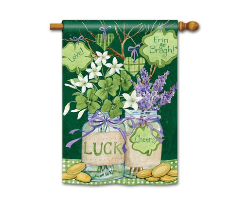 "Garden Flag, Lucky Shamrocks, 28"" x 40"""