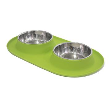 Messy Mutts Double Silicone Feeder with Stainless Bowls, 1.5 cups