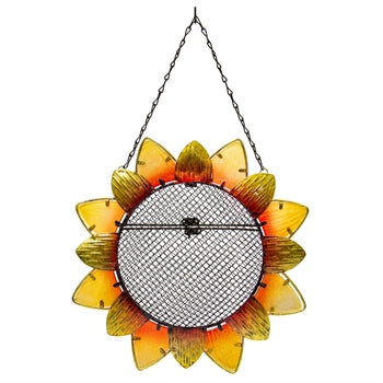 Sunflower Design Metal and Glass Bird Feeder, 5 cups capacity