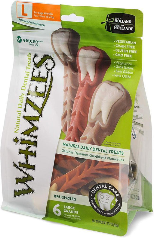 Whimzees Brushzees Natural Daily Dental Large Breed Dog Treats